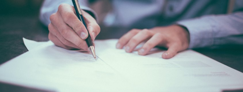 Executor of an estate works on paperwork