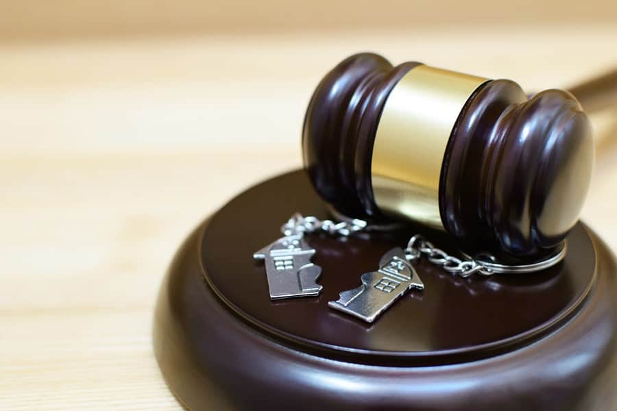 A gavel in a court where a property division attorney is splitting up assets.