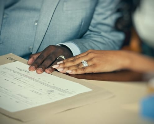 Newlyweds sign their postnuptial agreement in California.